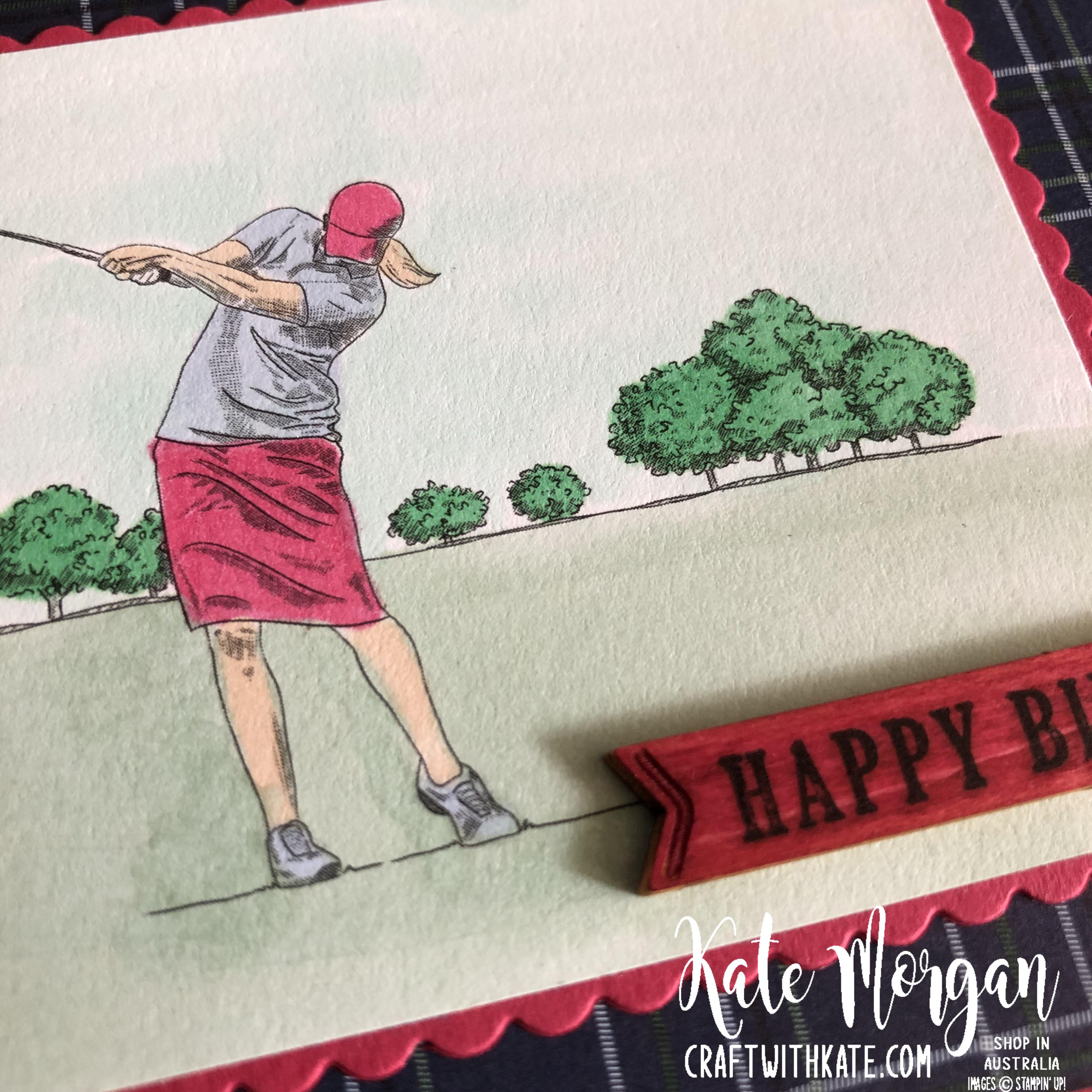 Feminine Golf card 2 using Stampin Up Country Club Suite by Kate Morgan Australia 2020.