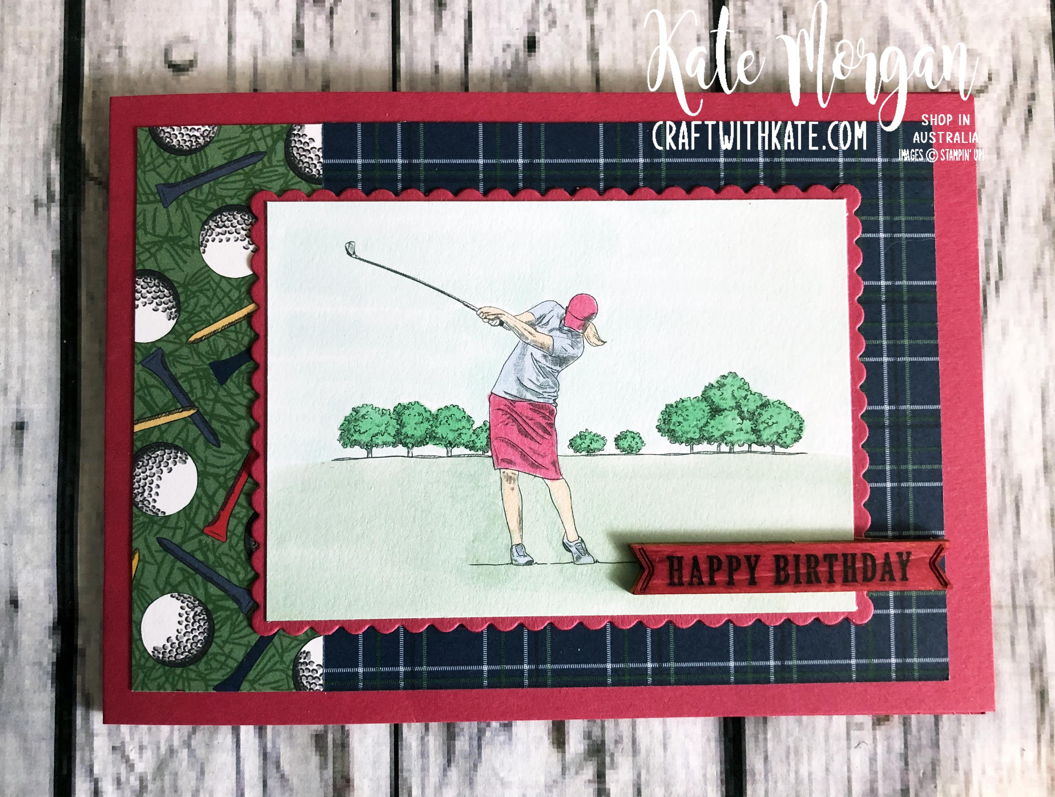 Feminine Golf card 2 using Stampin Up Country Club Suite by Kate Morgan Australia 2020