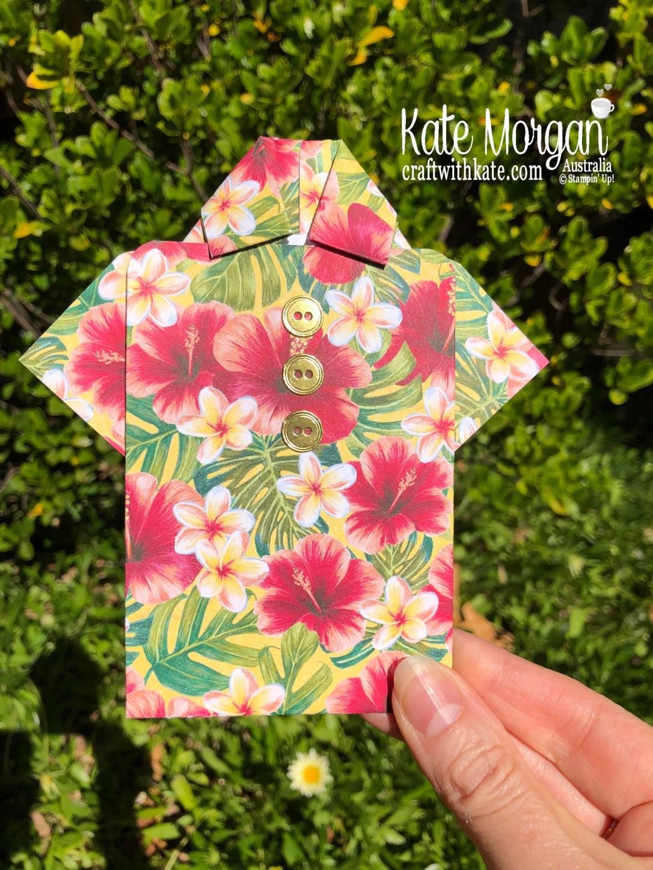 Hawaiian Shirt Fold card using Tropical Oasis by Kate Morgan, Australia, Stampin Up Mini 2020