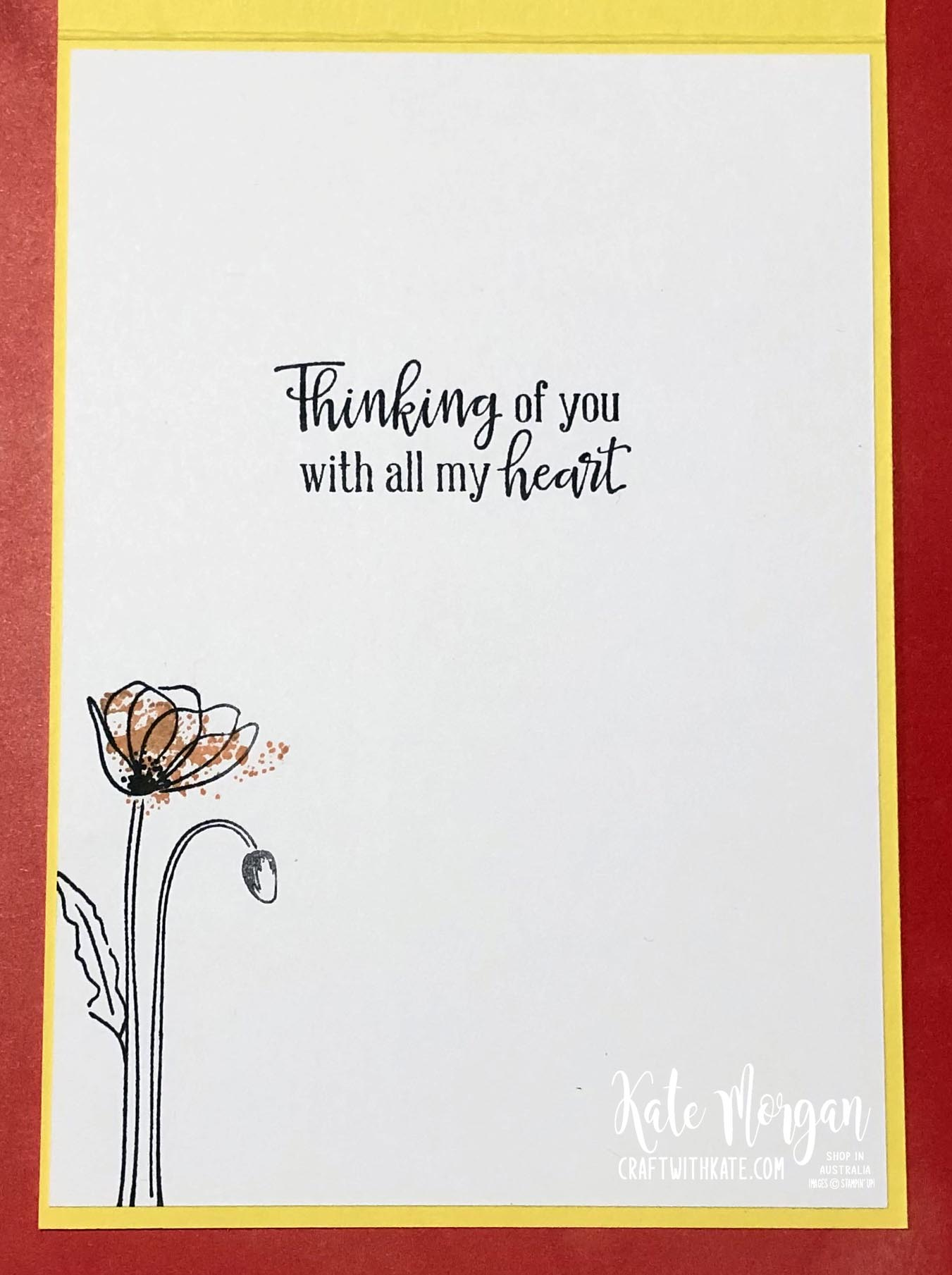 Peaceful Poppies cards by Kate Morgan, Stampin Up Australia 2020 inside