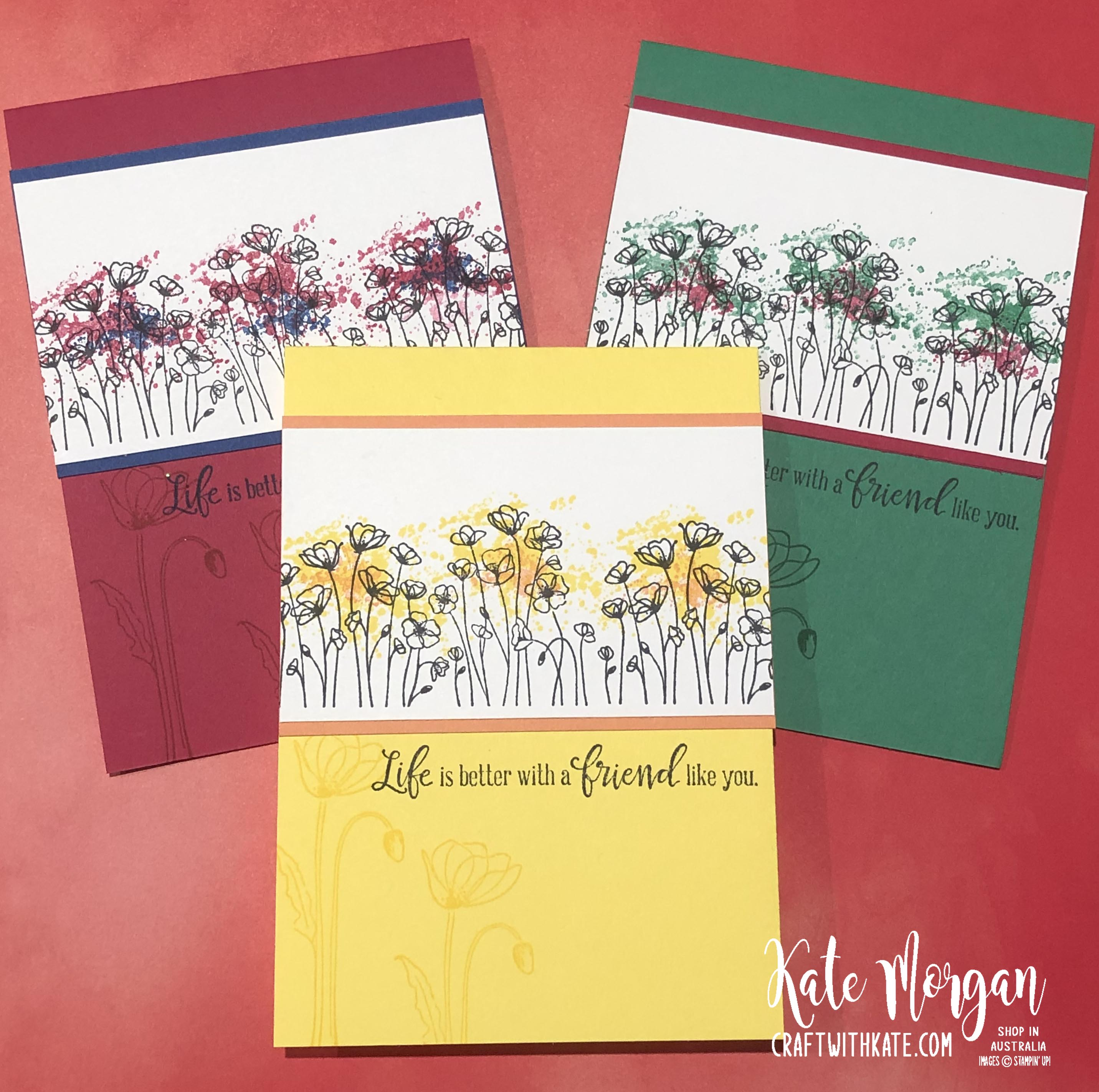 Peaceful Poppies cards by Kate Morgan, Stampin Up Australia 2020