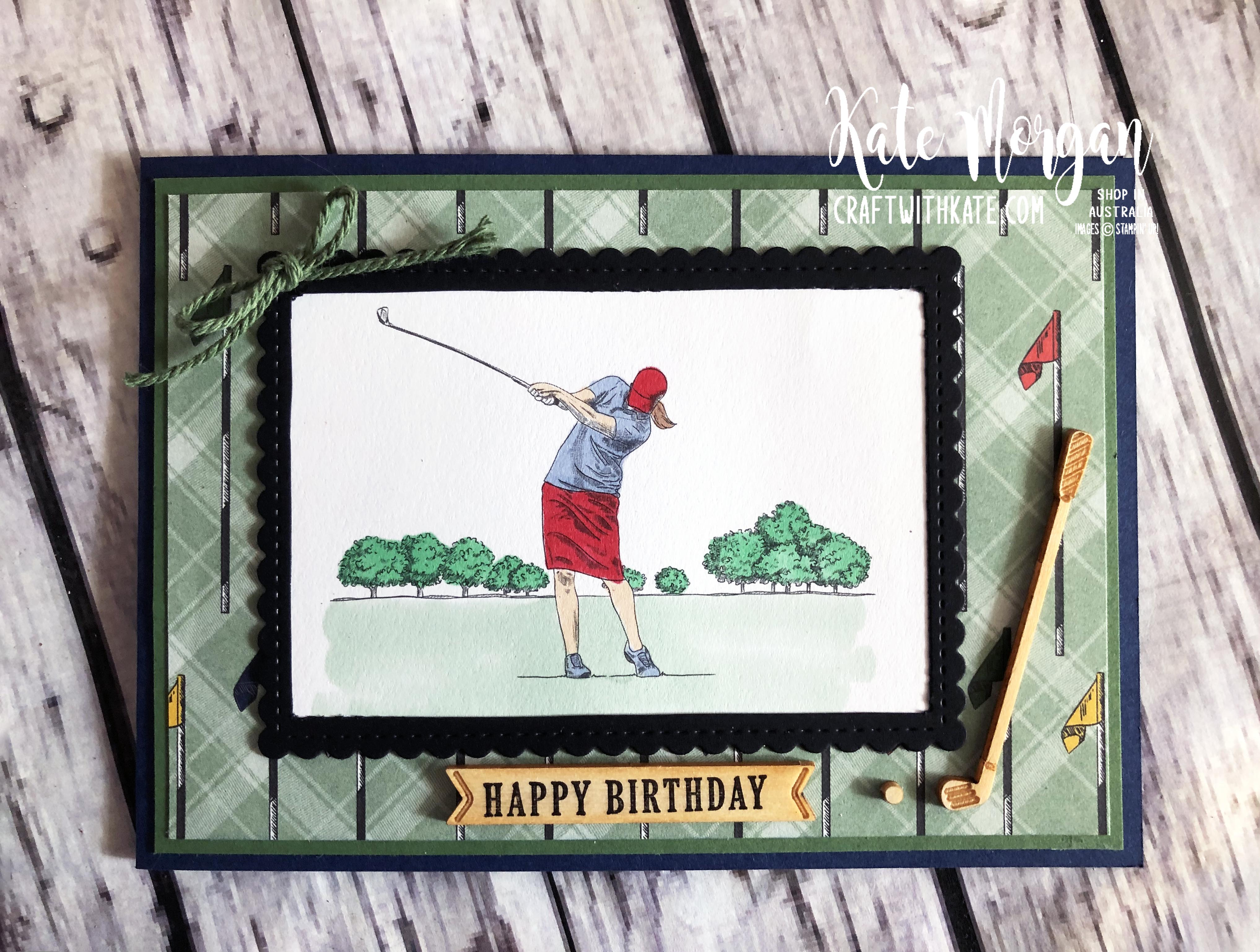 Feminine Golf card 3 using Stampin Up Country Club Suite by Kate Morgan Australia 2020