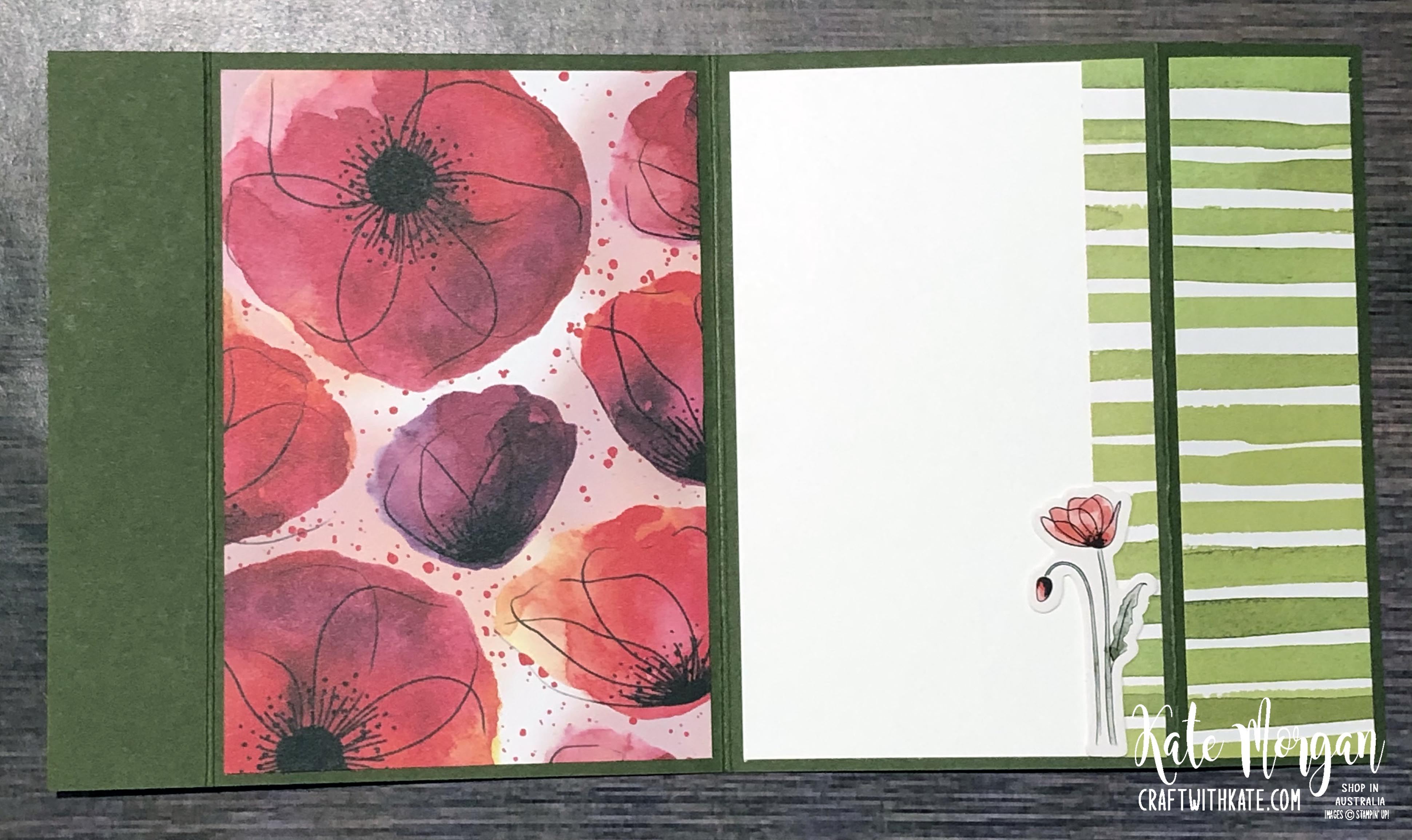 Peaceful Poppies Fancy Fold card by Kate Morgan, Stampin Up, Australia
