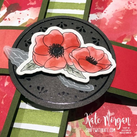 Peaceful Poppies Fancy Fold card by Kate Morgan, Stampin Up Australia.