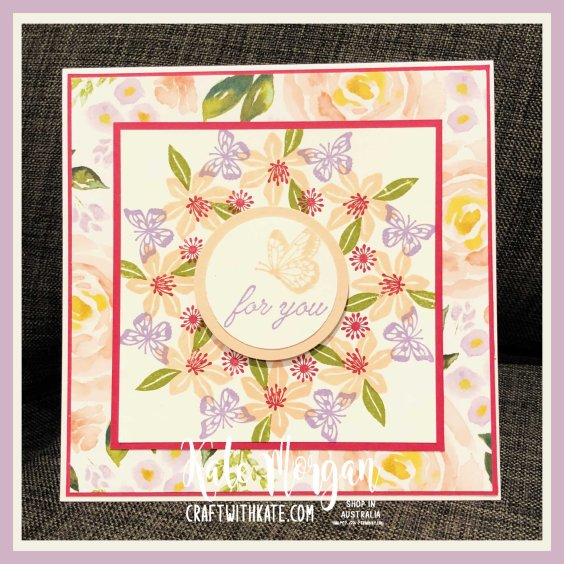 Stamp in the Round card featuring Beautiful Bouquet & Beauty Abounds stamp sets & Best Dressed DSP from Stampin Up by Kate Morgan, Australia