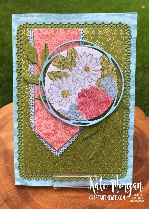 Trifold card using Stampin Up Ornate Garden & Peaceful Poppies Suites by Kate Morgan Australia 2020