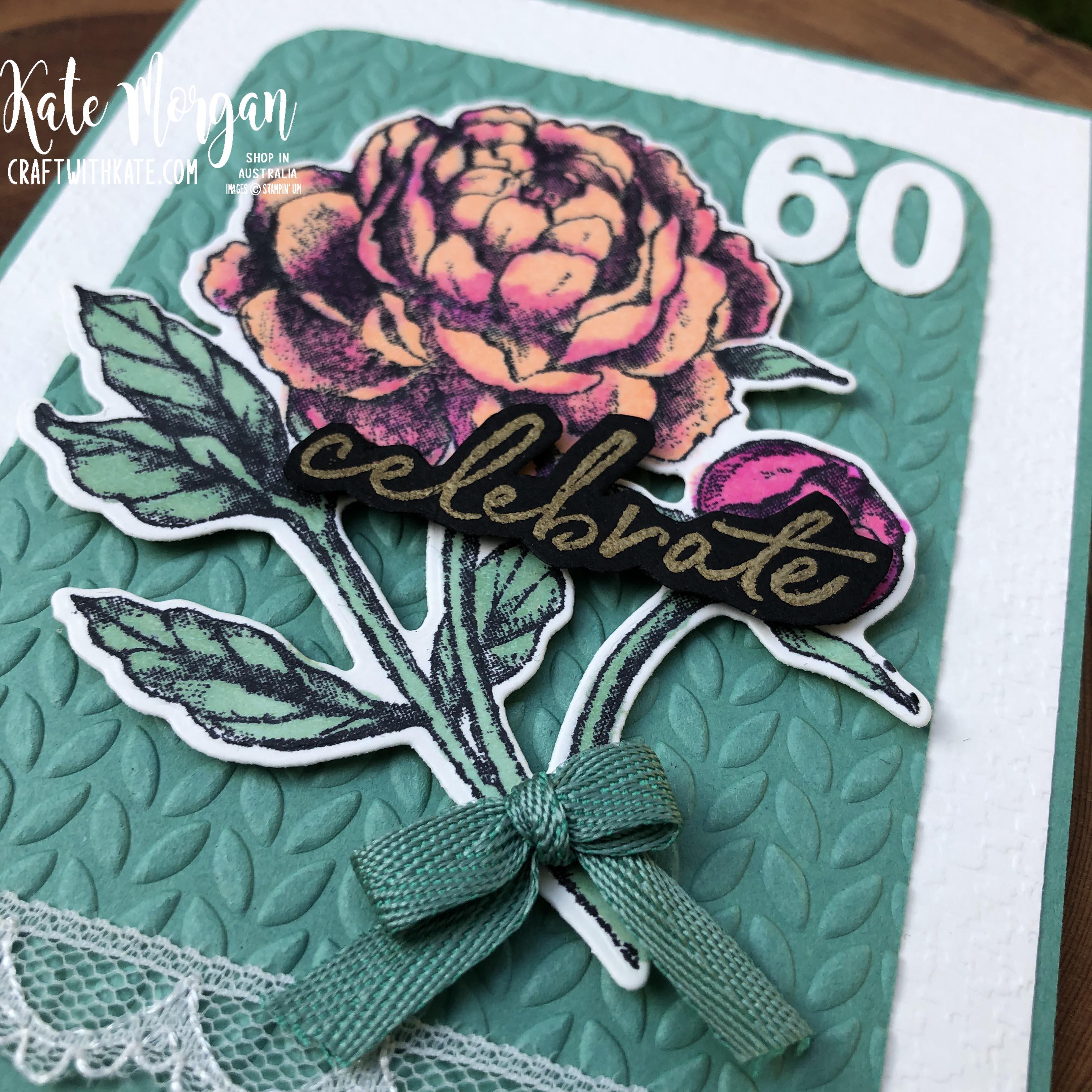 60th Feminine birthday card using Prized Peony by Kate Morgan Stampin Up Australia 2020..