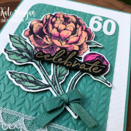 60th Feminine birthday card using Prized Peony by Kate Morgan Stampin Up Australia 2020..
