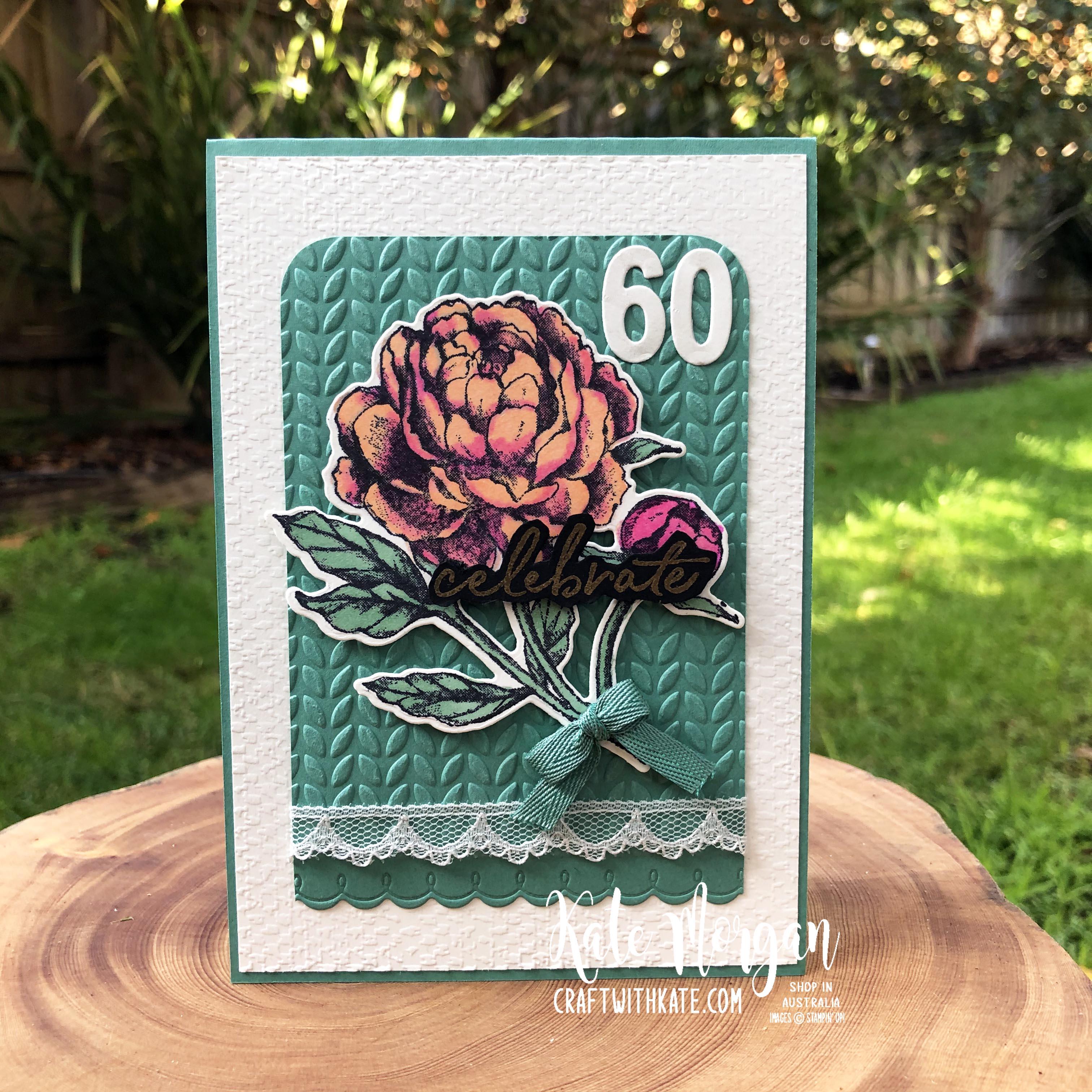 60th Feminine birthday card using Prized Peony by Kate Morgan Stampin Up Australia 2020.