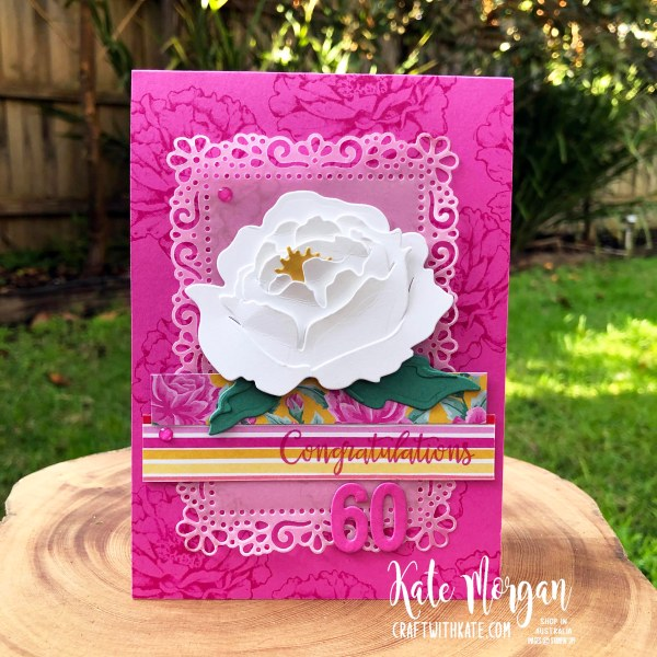 60th Feminine birthday card using Prized Peony Magenta Madness by Kate Morgan Stampin Up Australia 2020.