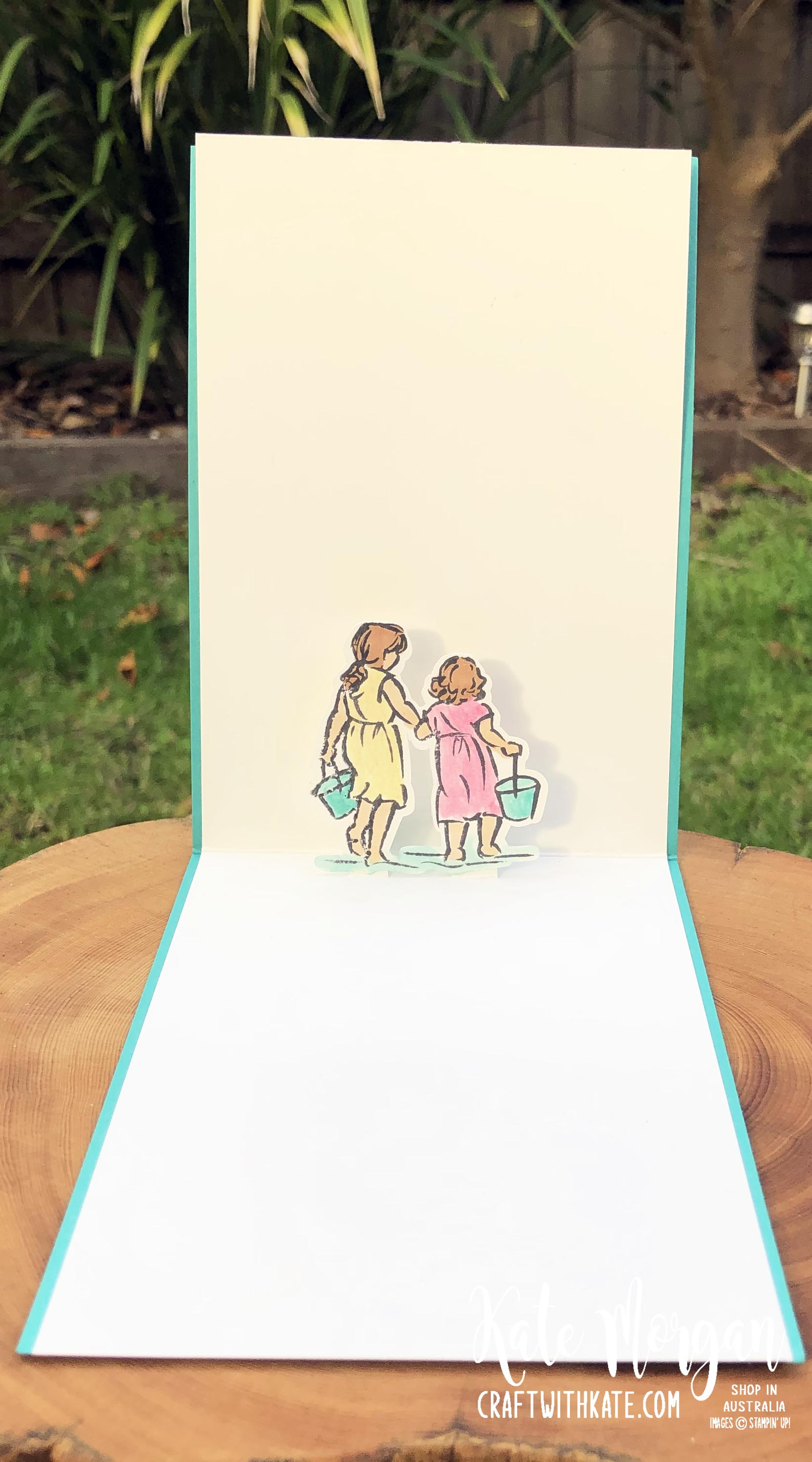 Beautiful Moments watercolour wash background fancy fold pop up card by Kate Morgan Stampin Up Australia 2020 inside