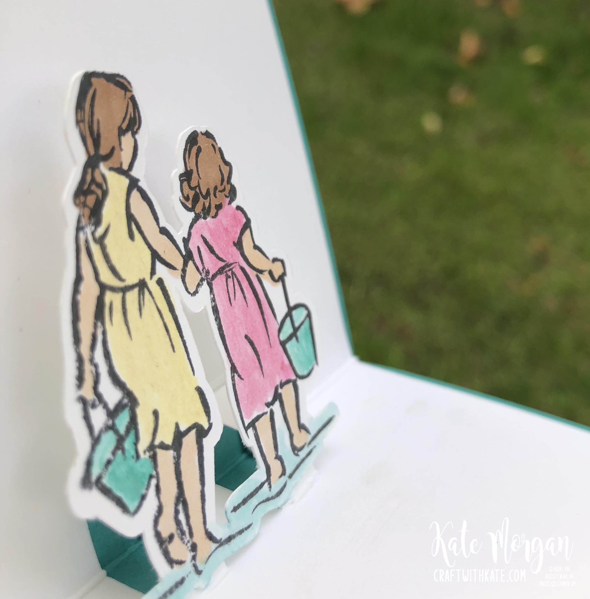 Beautiful Moments watercolour wash background fancy fold pop up card by Kate Morgan Stampin Up Australia 2020.