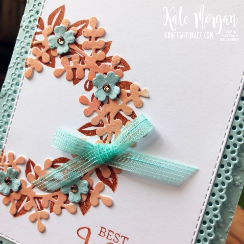 Arrange a Wreath Bundle for Crajun Craze Colour Creations Showcase by Kate Morgan, Stampin Up Australia 2020 closeup