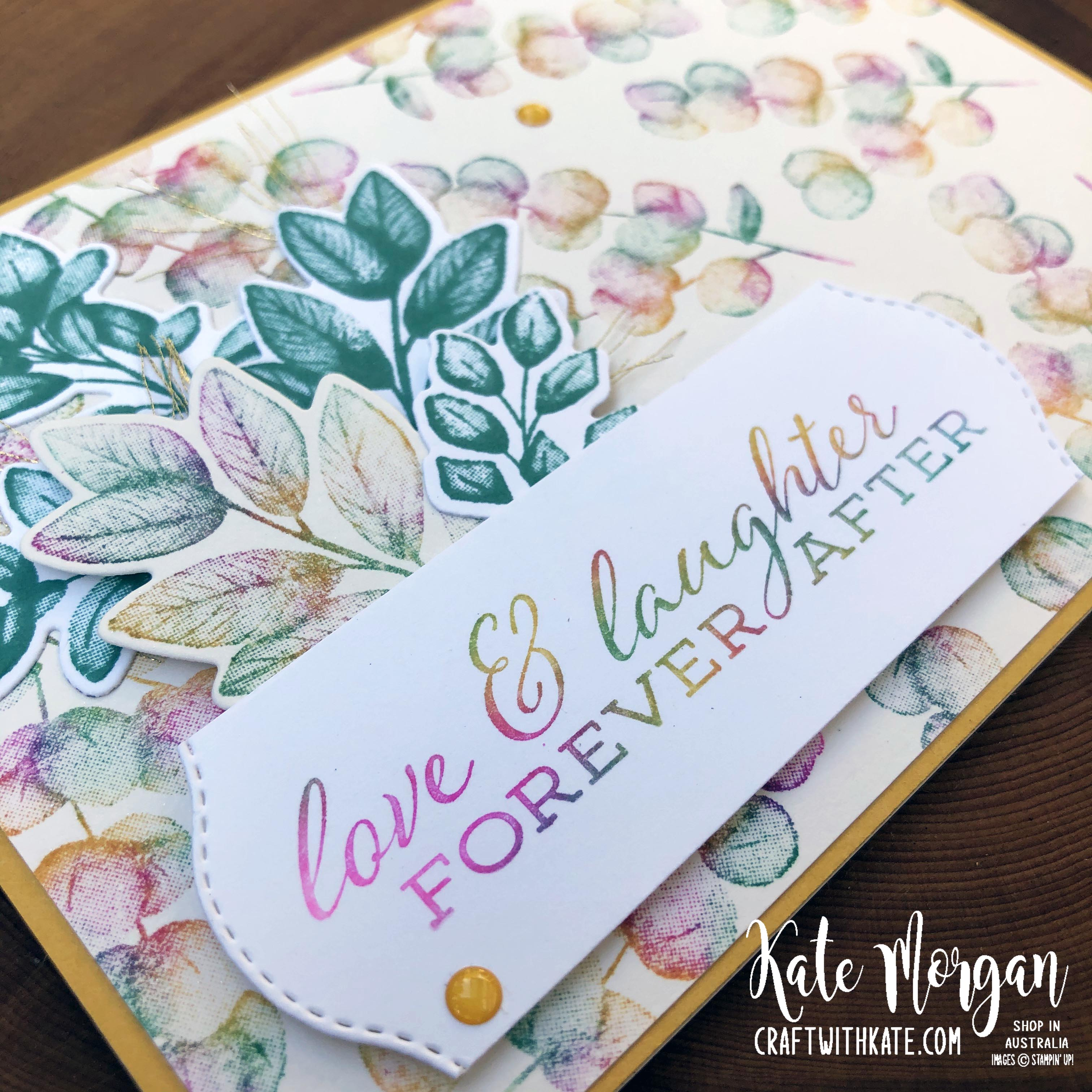 Baby wipe technique with Forever Fern bundle by Kate Morgan, Stampin Up Australia 2020....