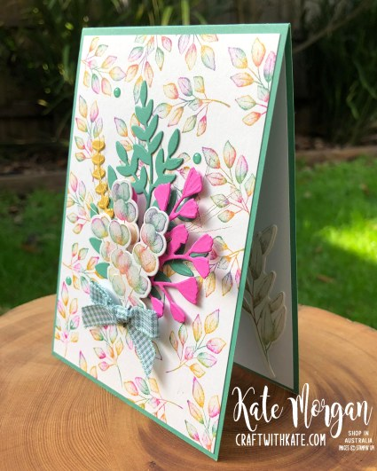 Baby wipe technique with Forever Fern bundle by Kate Morgan, Stampin Up Australia 2020..