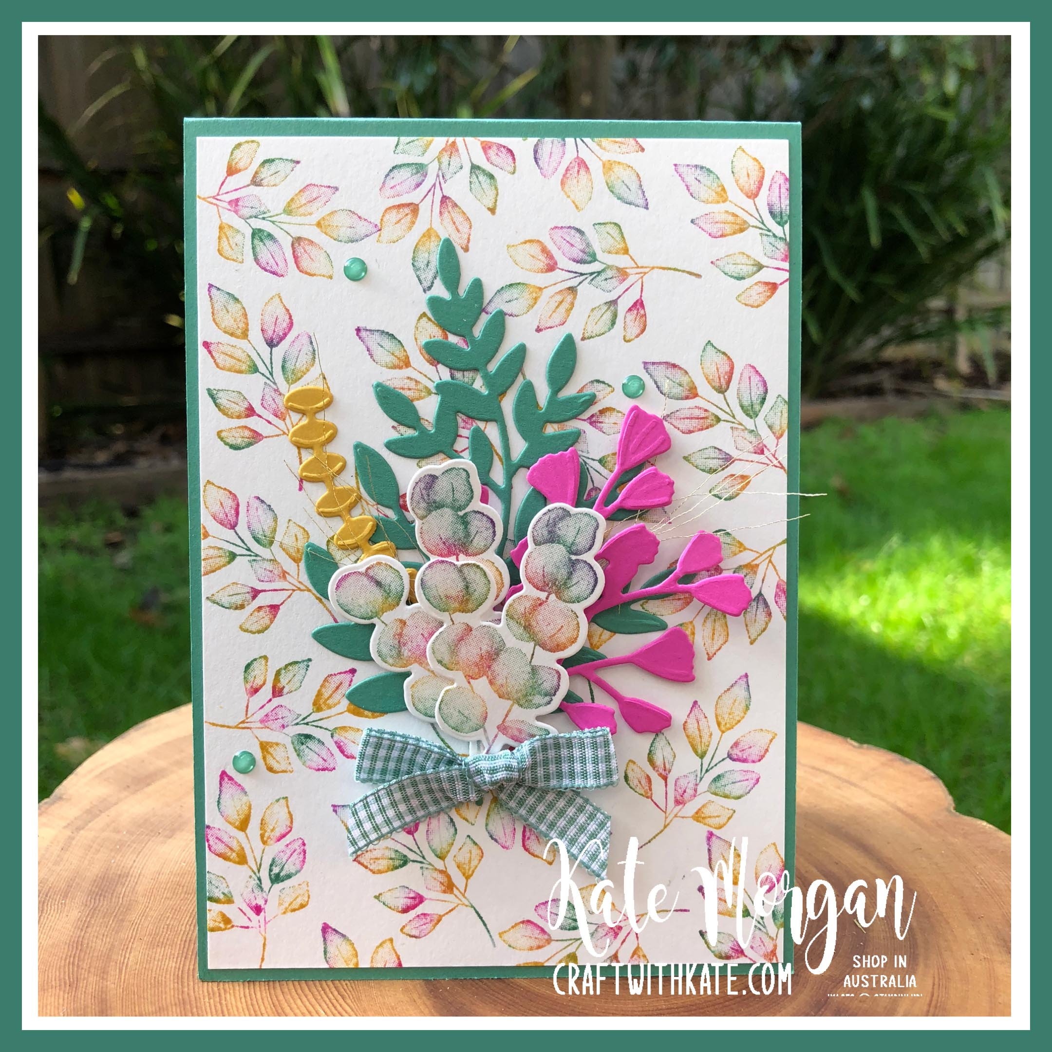 Baby wipe technique with Forever Fern bundle by Kate Morgan, Stampin Up Australia 2020