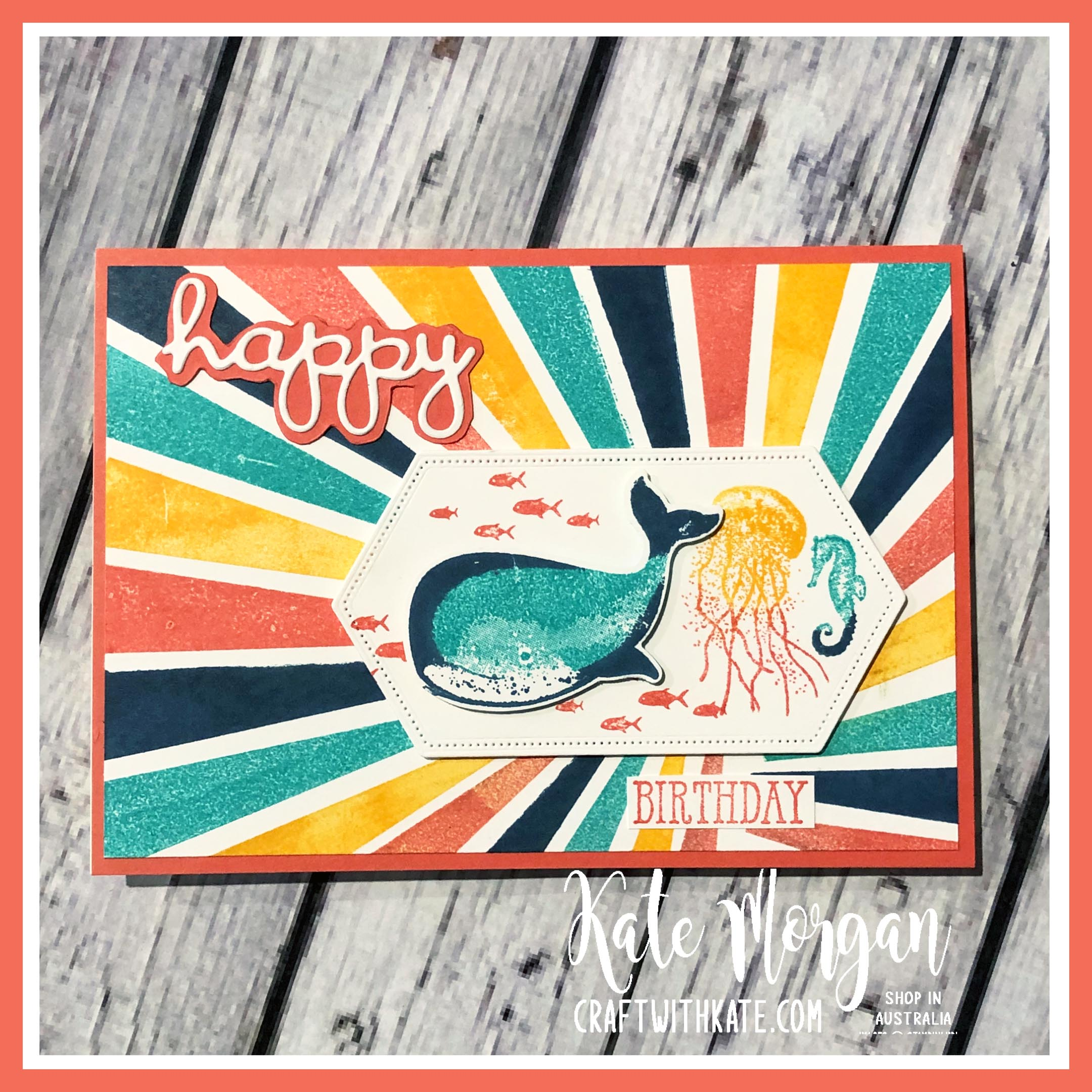 Calypso Coral CCS Card using Whale of a Time & High Tide stamps by Kate Morgan Stampin Up Australia 2020