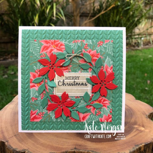 Christmas card using Arrange a Wreath in Just Jade by Kate Morgan Stampin Up Australia 2020