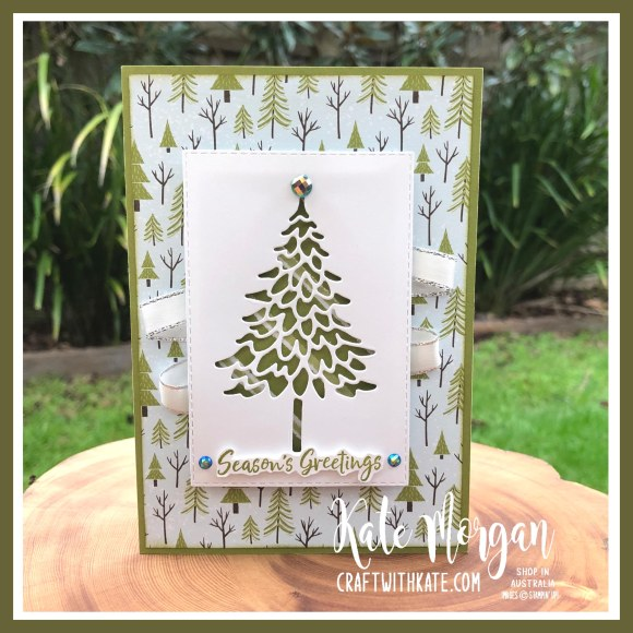 In the Pines & Trimming the Town DSP Olive Stampin Up by Kate Morgan Australia 2020.