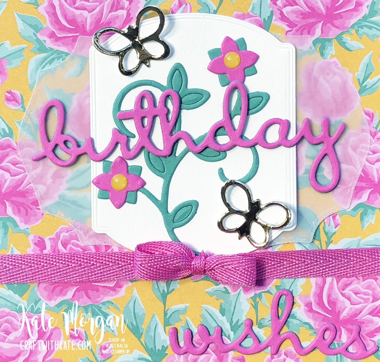 Magenta Madness Feminine Handmade card by Kate Morgan, Stampin Up Australia 2020 closeup