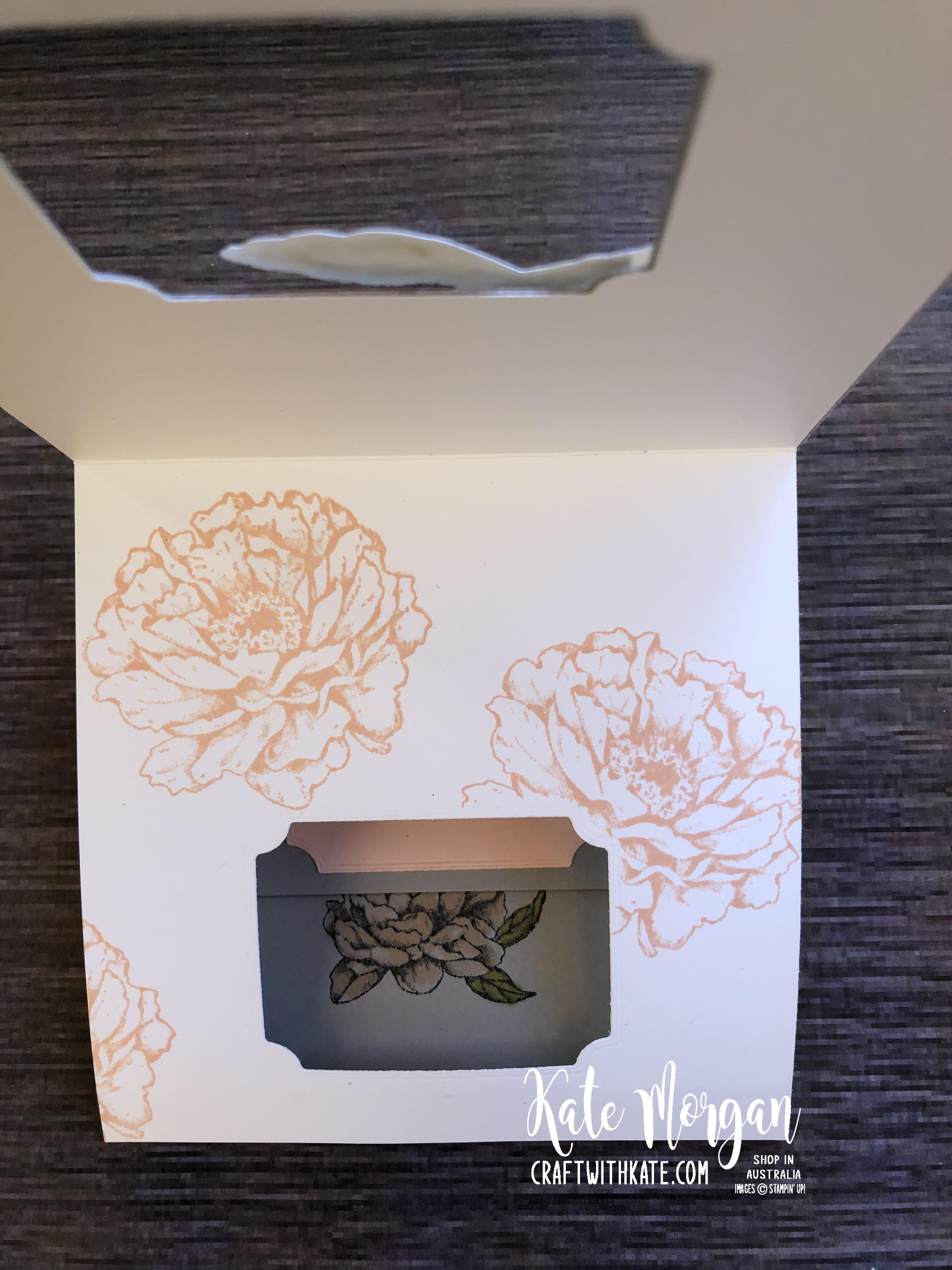 Peek a Boo Card using Stampin Up Prized Peony by Kate Morgan, Australia 2020 opening