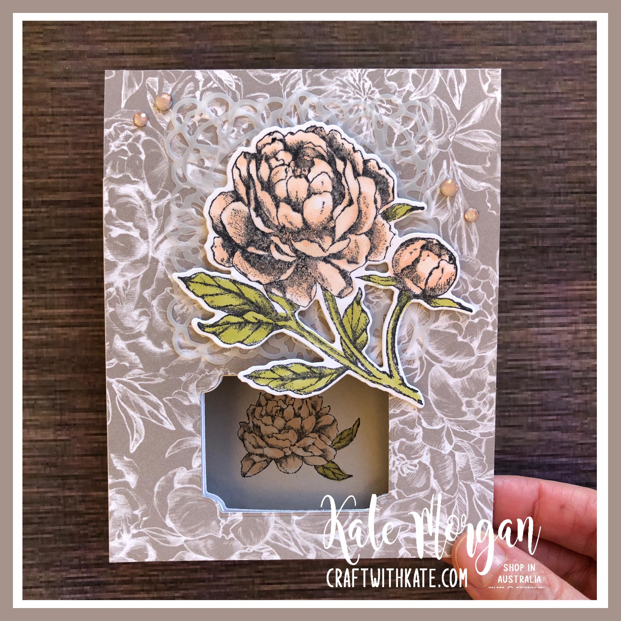 Peek a Boo Card using Stampin Up Prized Peony by Kate Morgan, Australia 2020