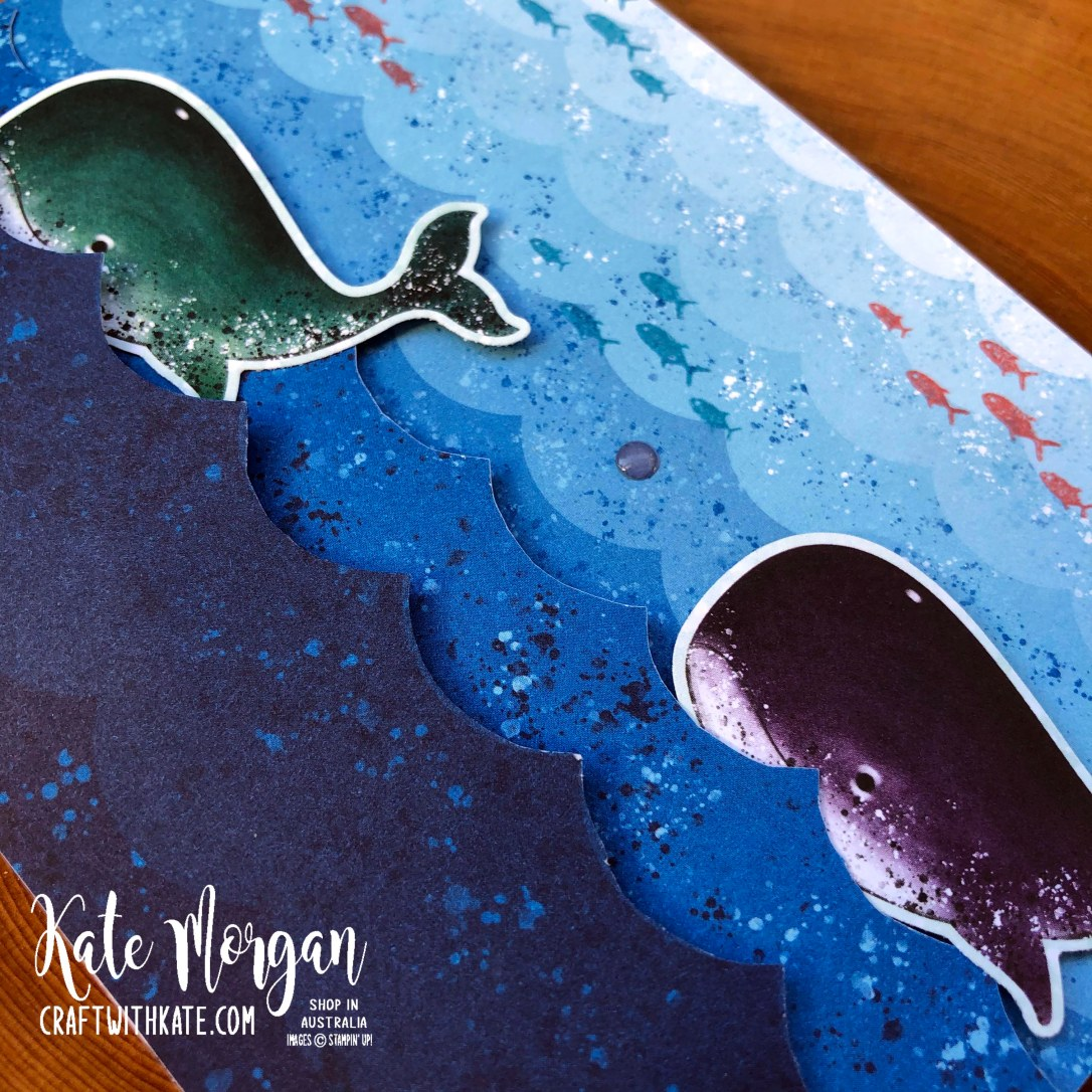 Whale Waves card by Kate Morgan, Stampin Up Australia 2020.