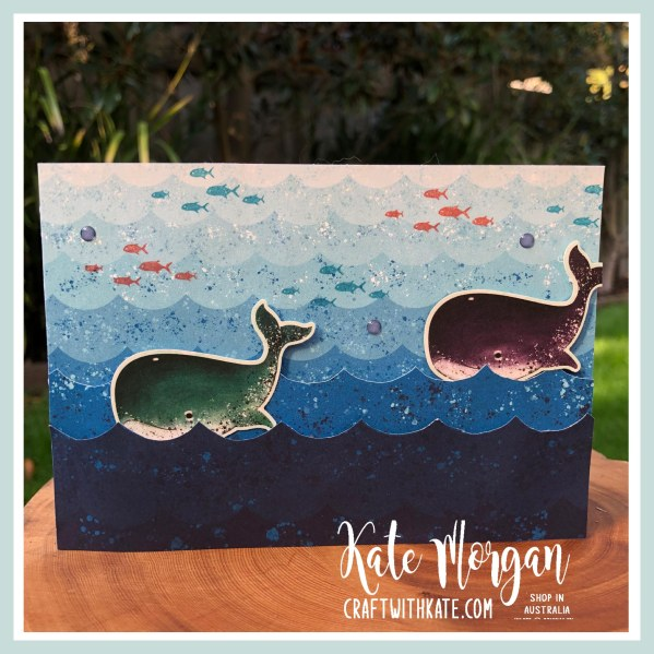 Whale Waves card by Kate Morgan, Stampin Up Australia 2020