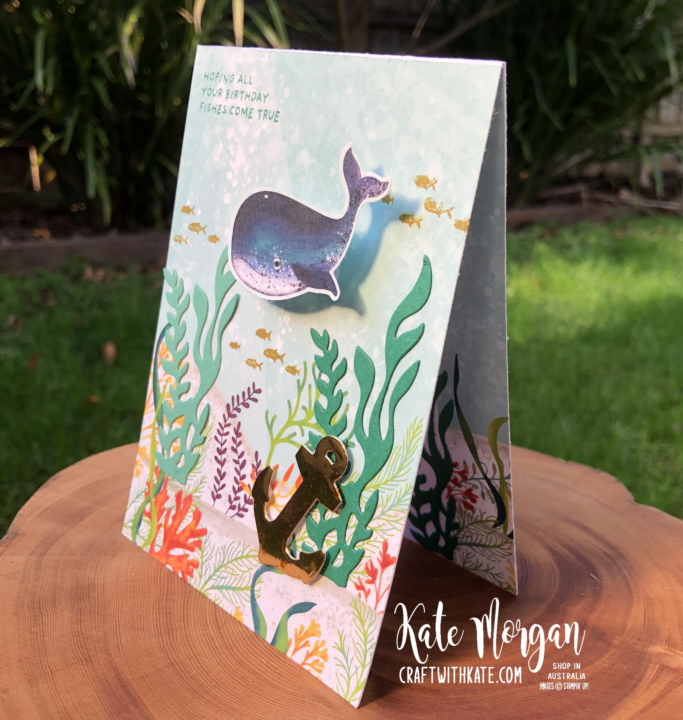 Whale Wobble card by Kate Morgan, Stampin Up Australia 2020 side