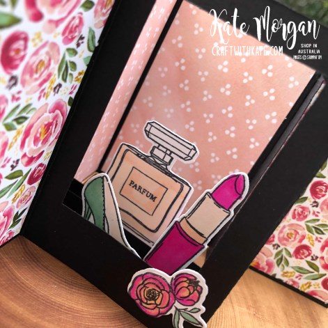 Dressed to Impress Fancy Fold card by Kate Morgan, Stampin Up Australia 2020 inside