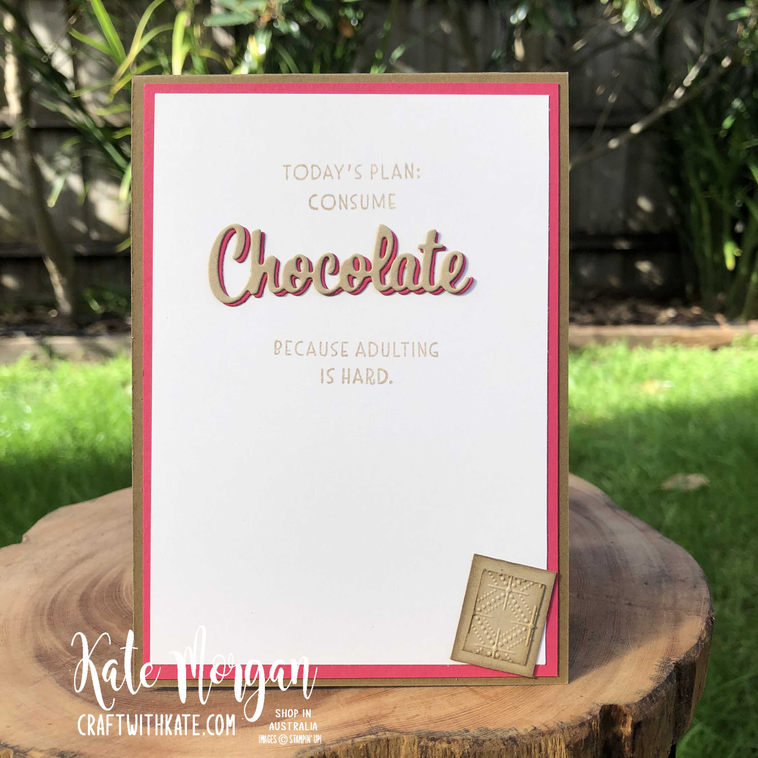 Nothing's Better Than Chocolate card by Kate Morgan, Stampin Up Australia 2020 Colour Creations Showcase Crumb Cake.