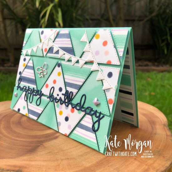 Playing with Patterns & Stitched Triangles for CCS Coastal Cabana by Kate Morgan Stampin Up Australia 2020.