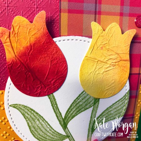 Timeless Tulips Tissue Paper Watercolour Technique by Kate Morgan Stampin Up Australia 2020 closeup