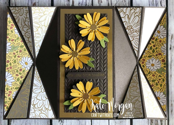 Double Fan Fold card using Stampin Ups Ornate Garden & Daisy Lane by Kate Morgan Australia 2020.