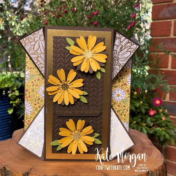Double Fan Fold card using Stampin Ups Ornate Garden & Daisy Lane by Kate Morgan Australia 2020
