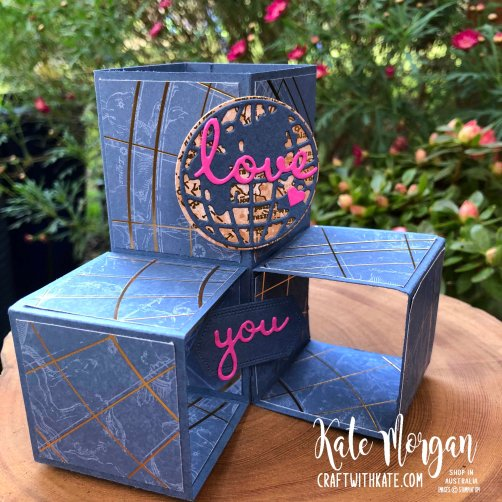 Masculine Cube Card using Stampin Ups World of Good Suite by Kate Morgan Australia 2020..