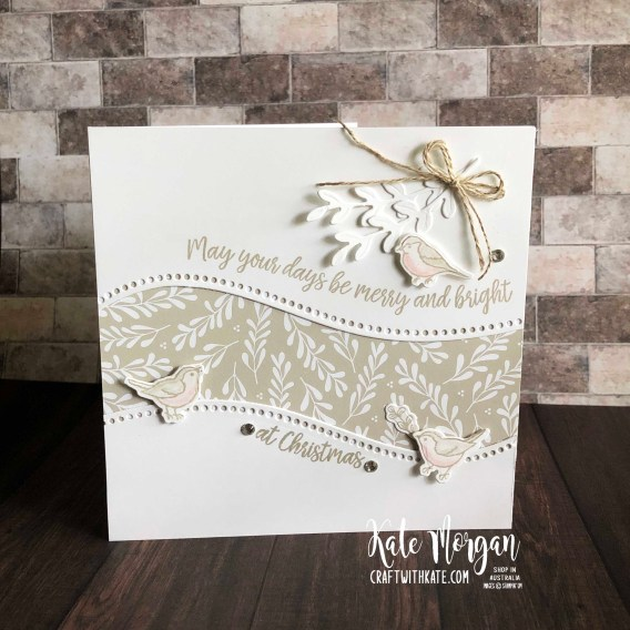 Curvy Christmas card using Stampin Ups Classic Christmas DSP by Kate Morgan Australia 2020.