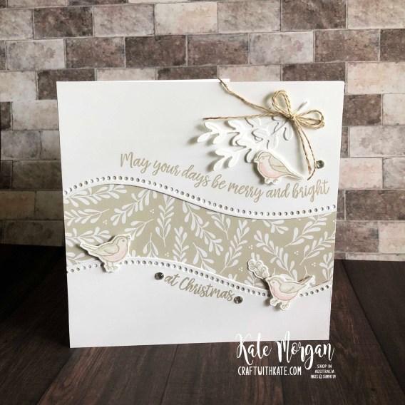 Curvy Christmas card using Stampin Ups Classic Christmas DSP by Kate Morgan Australia 2020.