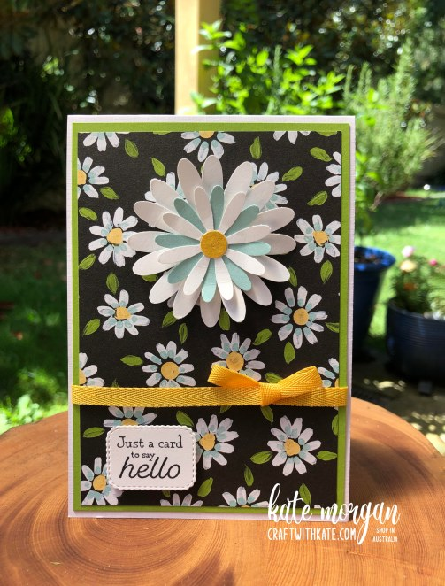 Daisy with Flower & Field DSP and Many Messages by Kate Morgan Stampin Up Australia 2021.
