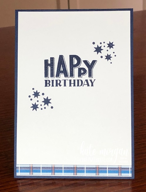 Masculine Birthday using Well Suited & You are Amazing stamp set by Kate Morgan Stampin Up Australia 2021 inside