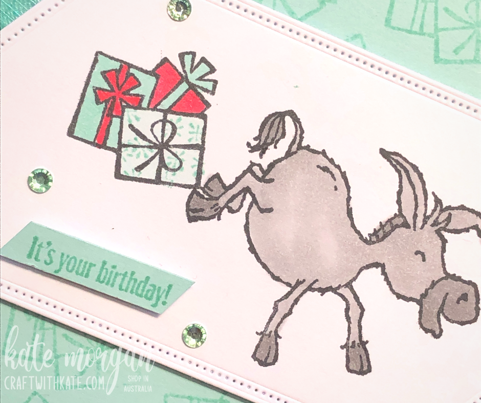 Darling Donkeys Birthday card for Pool Party Colour Creations Showcase, Kate Morgan Stampin Up Australia 2021.