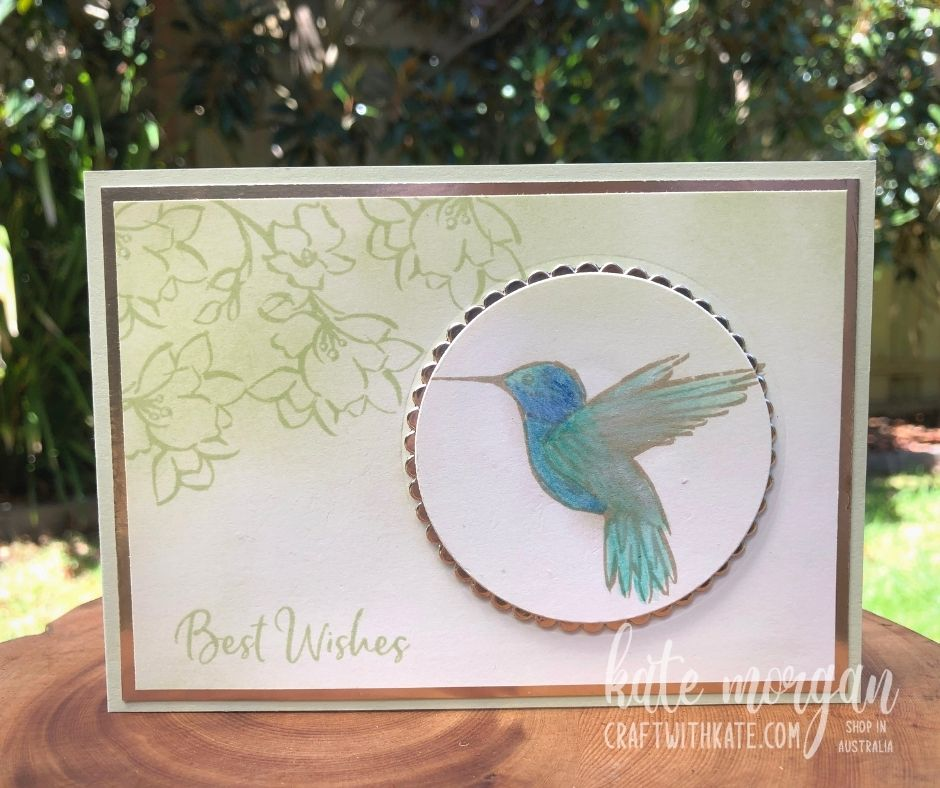 Hummingbird card using Saleabration, A Touch of Ink from Stampin Up Australia 2021 by Kate Morgan