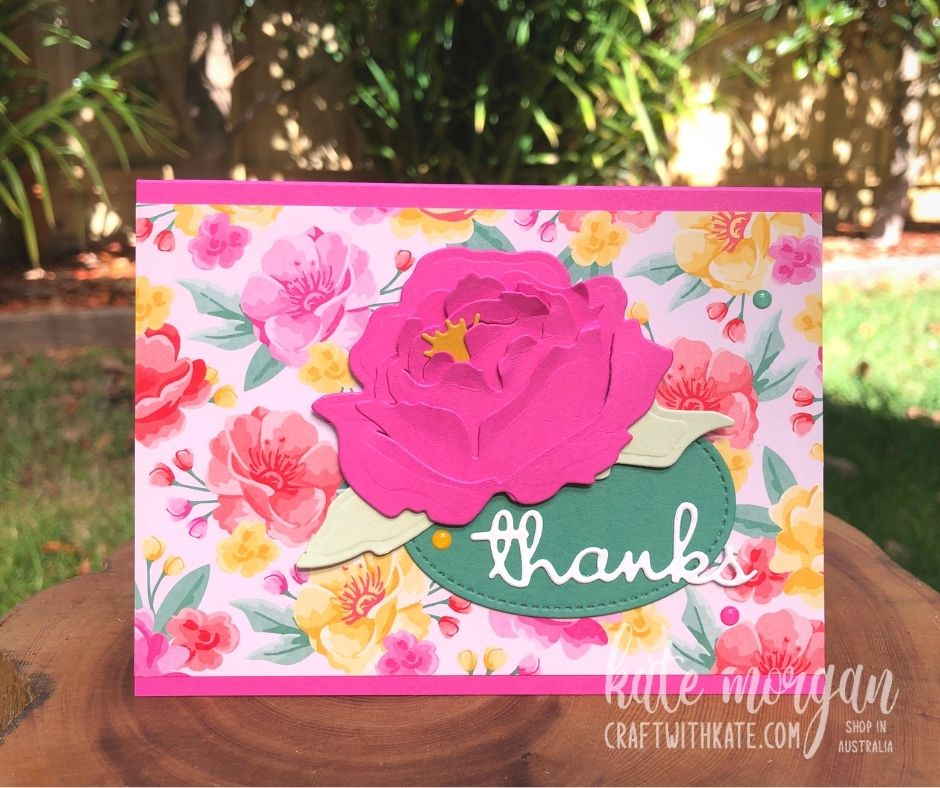 No Stamping Thank You Card using Stampin Up Peony Dies by Kate Morgan, Stampin Up! Australia 2021