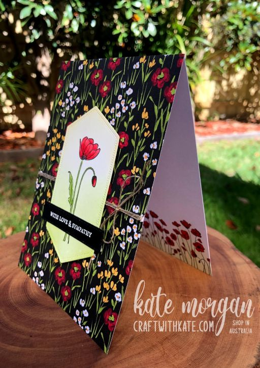 Sympathy card using Stampin Up Painted Poppies by Kate Morgan Australia 2021 side