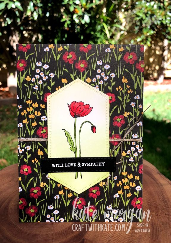 Sympathy card using Stampin Up Painted Poppies by Kate Morgan Australia 2021.