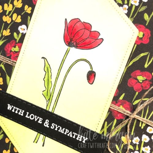 Sympathy card using Stampin Up Painted Poppies by Kate Morgan Australia 2021