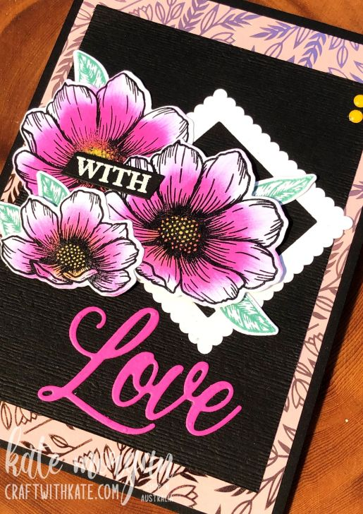 With Love card for AWH Monthly Showcase 2021 using Stampin Up Forever & Always Bundle by Kate Morgan Australia.