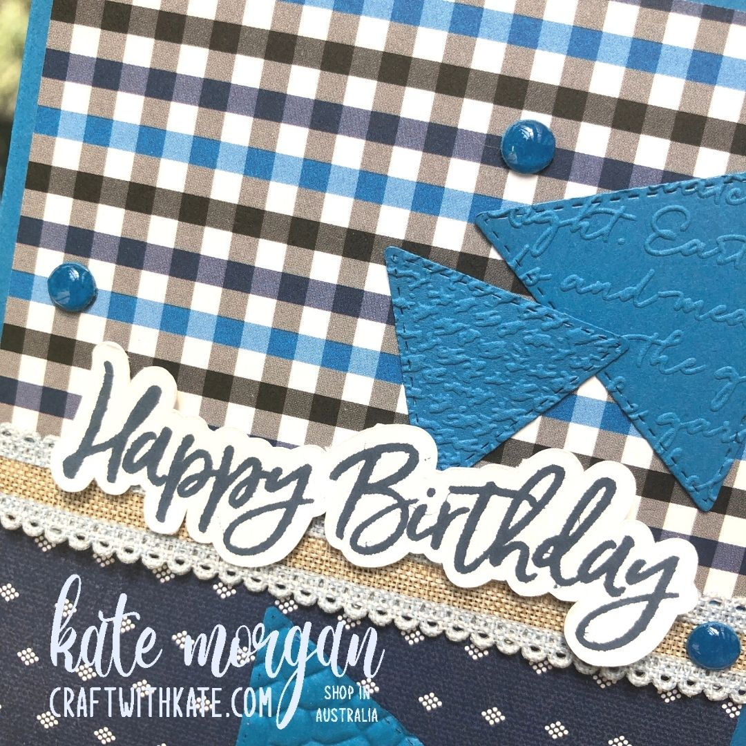 Well Suited Triangles for Monthly Showcase Sketch Challenge by Kate Morgan, Stampin Up Australia 2021