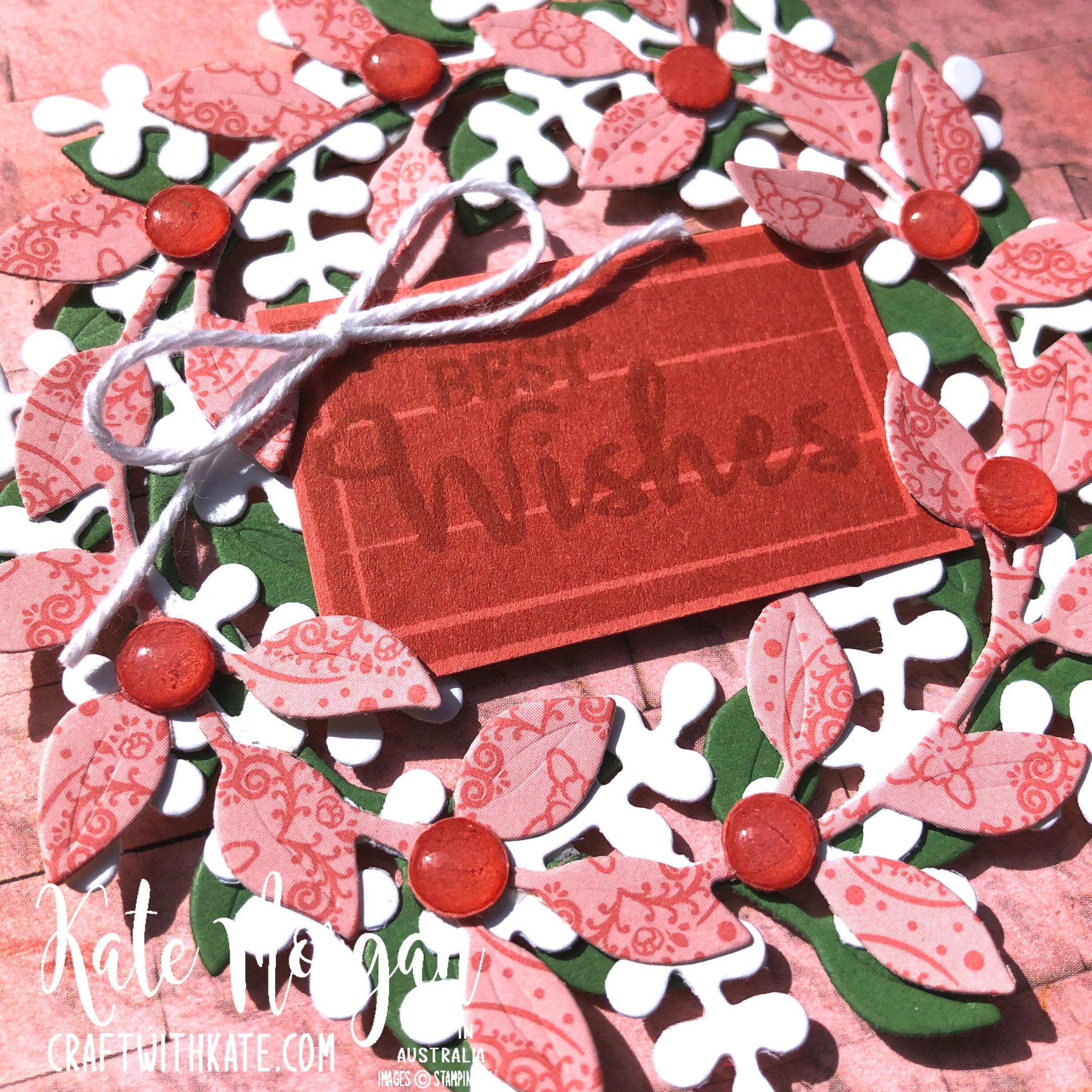 Arrange a Wreath for Colour Creations Showcase Terracotta Tile card Stampin Up by Kate Morgan, Australia 2021 closeup