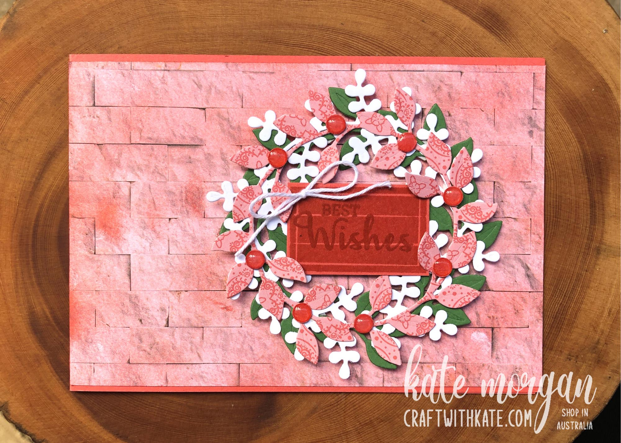 Arrange a Wreath for Colour Creations Showcase Terracotta Tile card Stampin Up by Kate Morgan, Australia 2021.